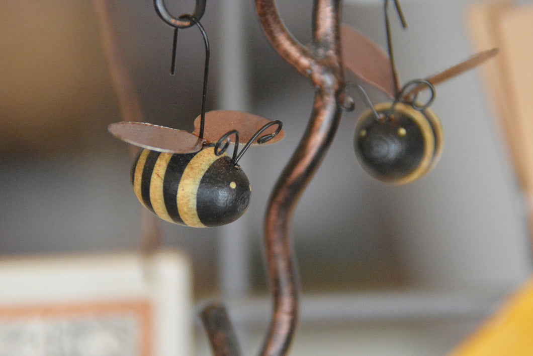 Metal and Wood Bee Ornaments to Hang Anywhere