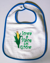Load image into Gallery viewer, Iowa: a Place to Grow Terry Cloth Bib