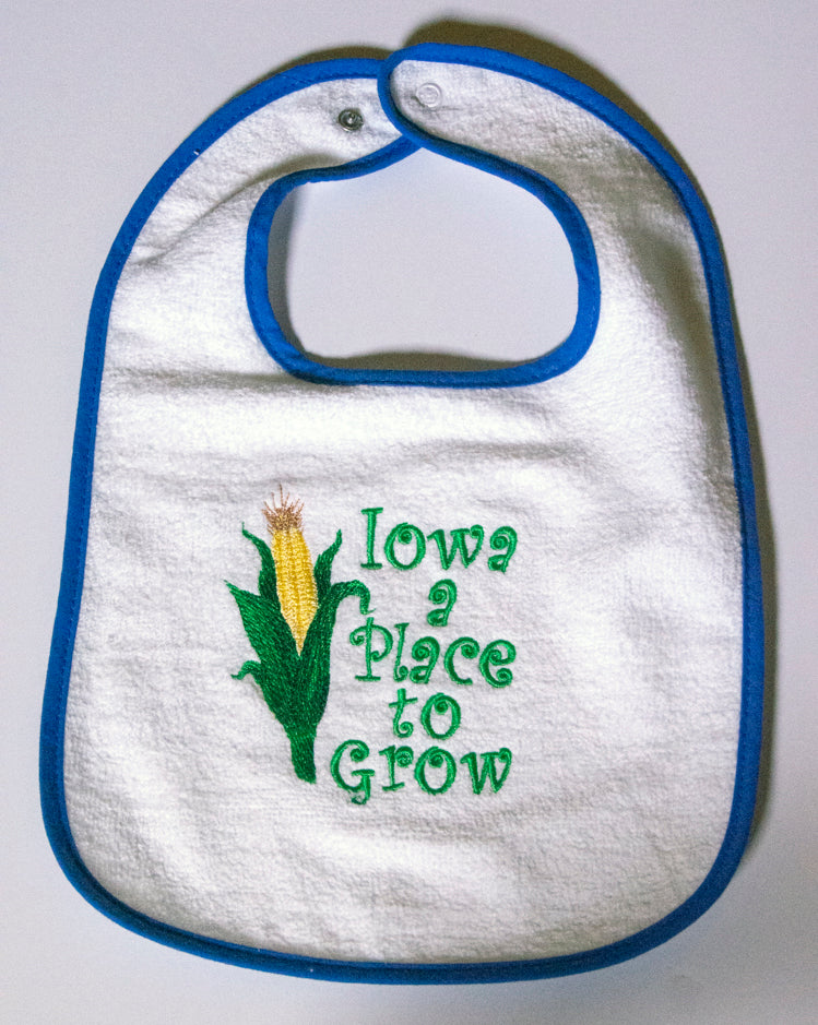 Iowa: a Place to Grow Terry Cloth Bib
