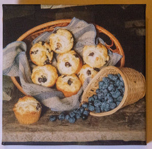"Blueberry Muffins 8"" Square Canvas Art"