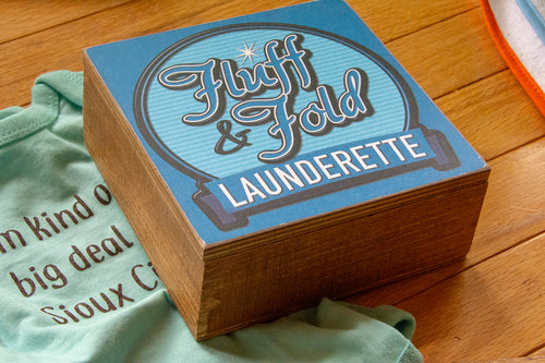 Fluff and Fold Launderette Painted Wood Box Home Decor with Hinged Lid CLOSEOUT