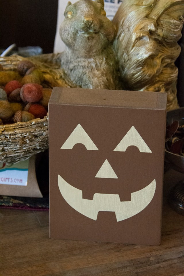 Jack-O-Latern Wood Blocks for Home Decor