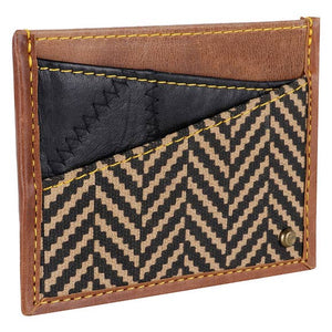 Recycled Leather Slim Credit Card Holder with Herringbone Accent