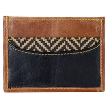 Load image into Gallery viewer, Recycled Leather Slim Credit Card Holder with Herringbone Accent
