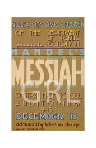 WPA Poster of the Messiah at Sioux City Central High School Wall Art