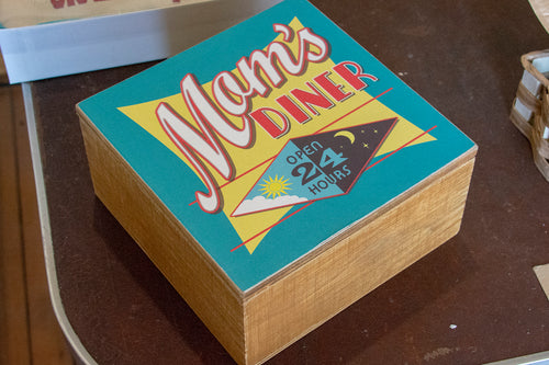 Mom's Diner Painted Wood Box Home Decor