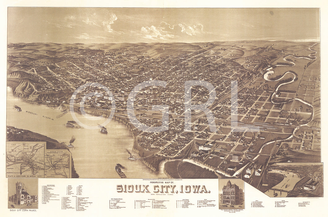Sioux City Perspective Map Walll Art