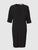 Front view of a black, straight cut, below the knee dress, with a round collar and a 3/4 raglan sleeve. From the RÉZO women's collection.