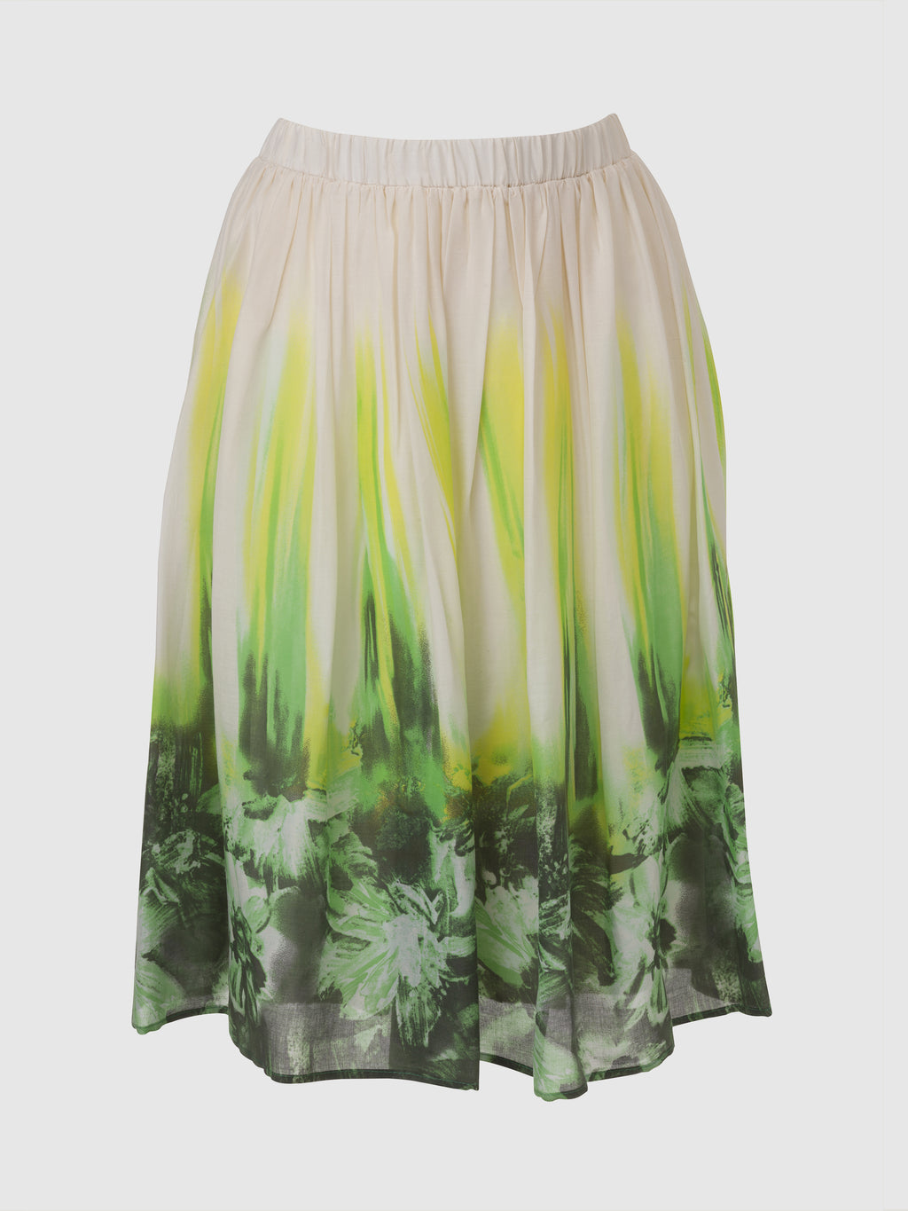 Knee length elastic gathered off white skirt with green leafy print around the hem and smudge yellow strikes going up to the waistline