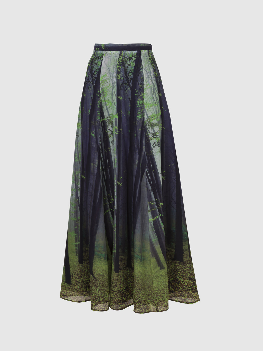 Nature Print Paneled Long Skirt