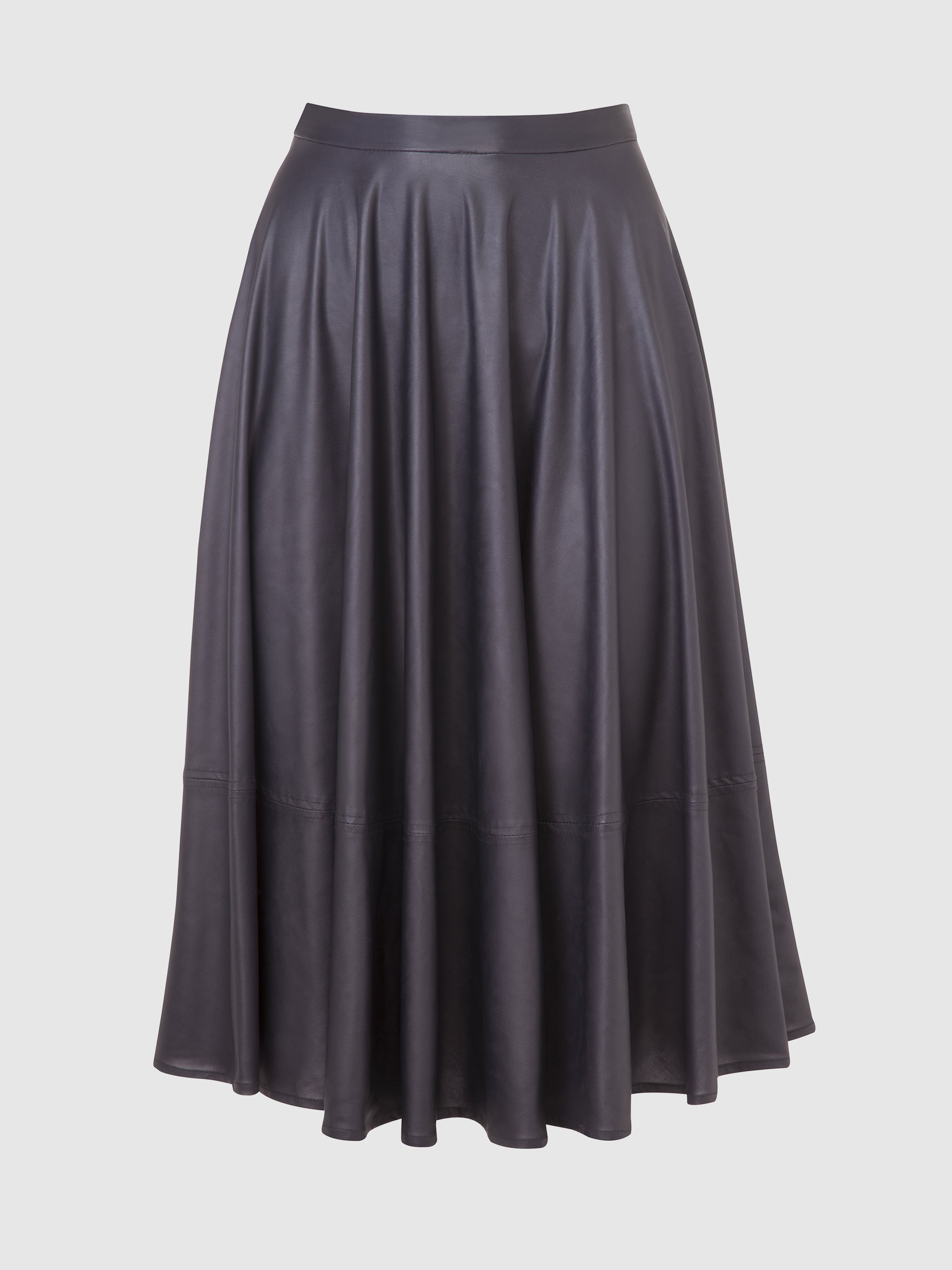 Purplish gray knee length PU leather flared skirt from the RÉZO women's collection