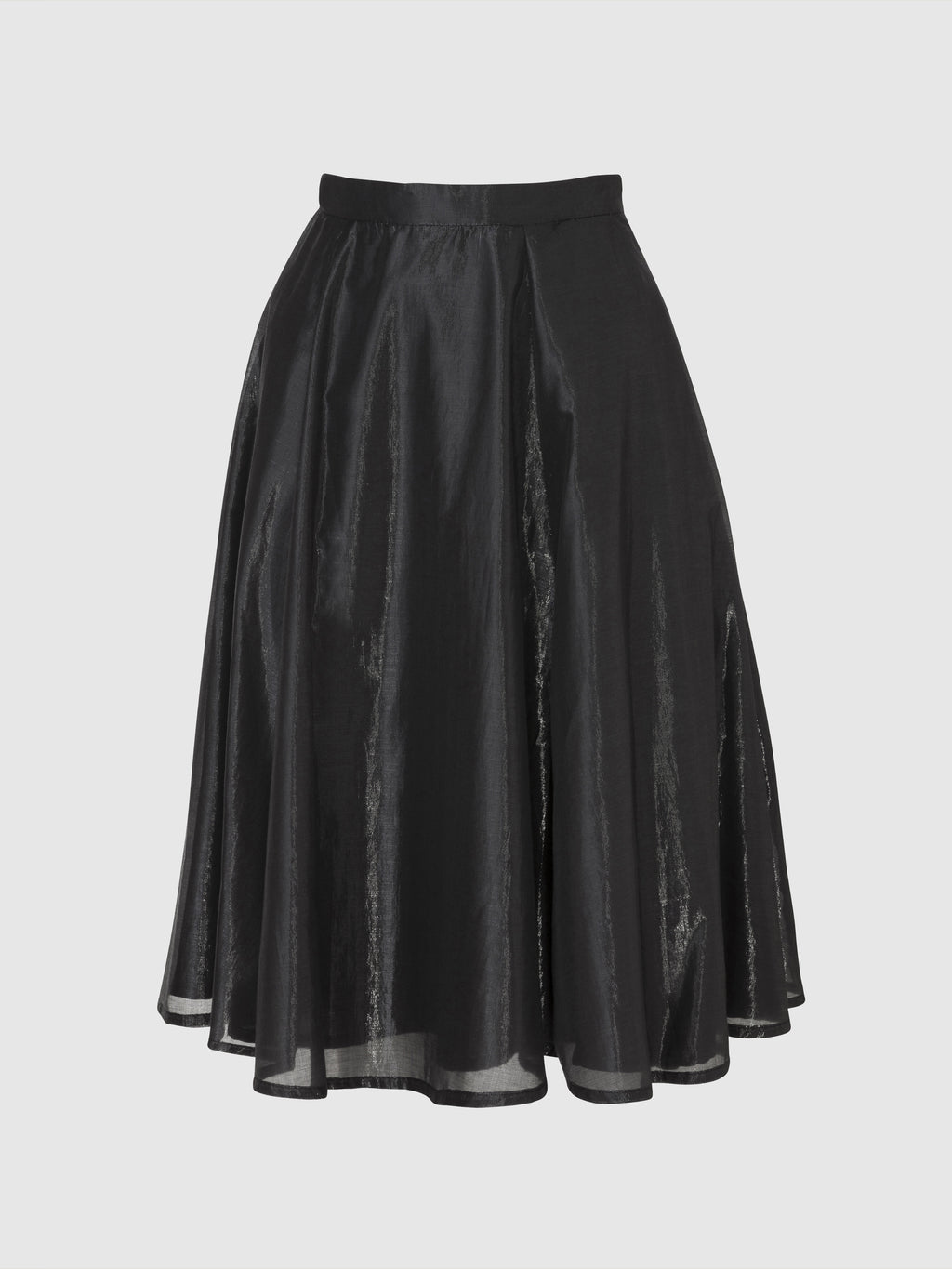 Knee length glossy black flared skirt from the RÉZO women's collection