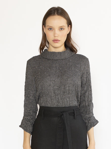 Elbow Sleeve Top with Raised Collar