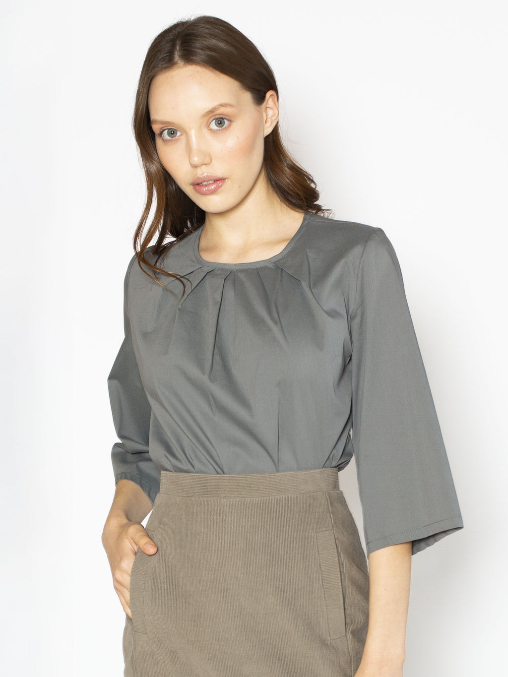 Elbow sleeve Pleated Neck Blouse