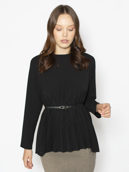 Black Pleated Raglan Blouse