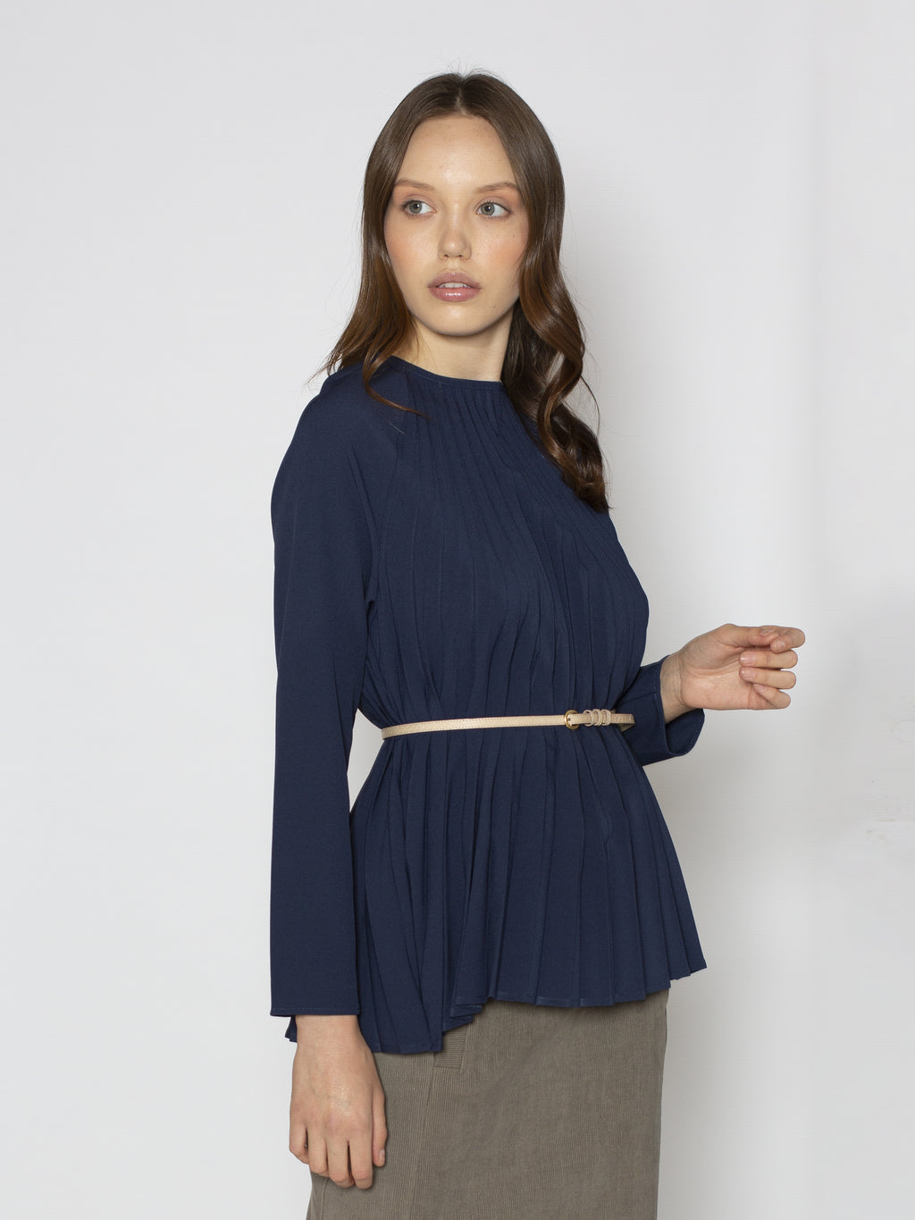 Navy Pleated Raglan Blouse