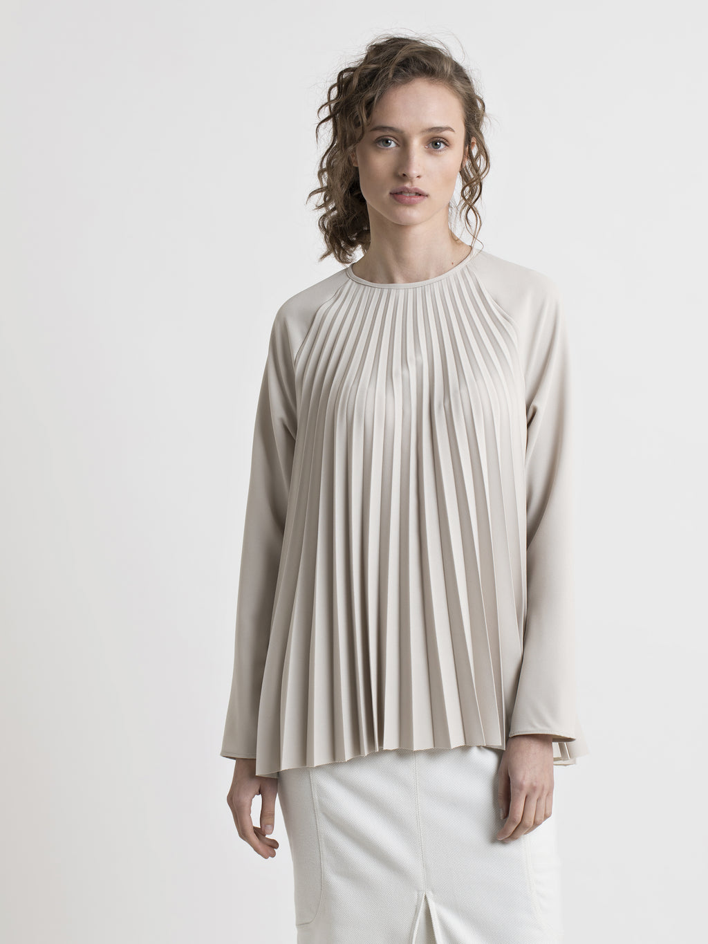 Sand Pleated Raglan Blouse