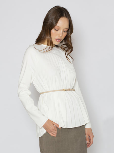 Ivory Pleated Raglan Blouse