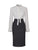 Neck tie white long sleeve crepe blouse with a dark blue denim pencil skirt from the RÉZO women's collection