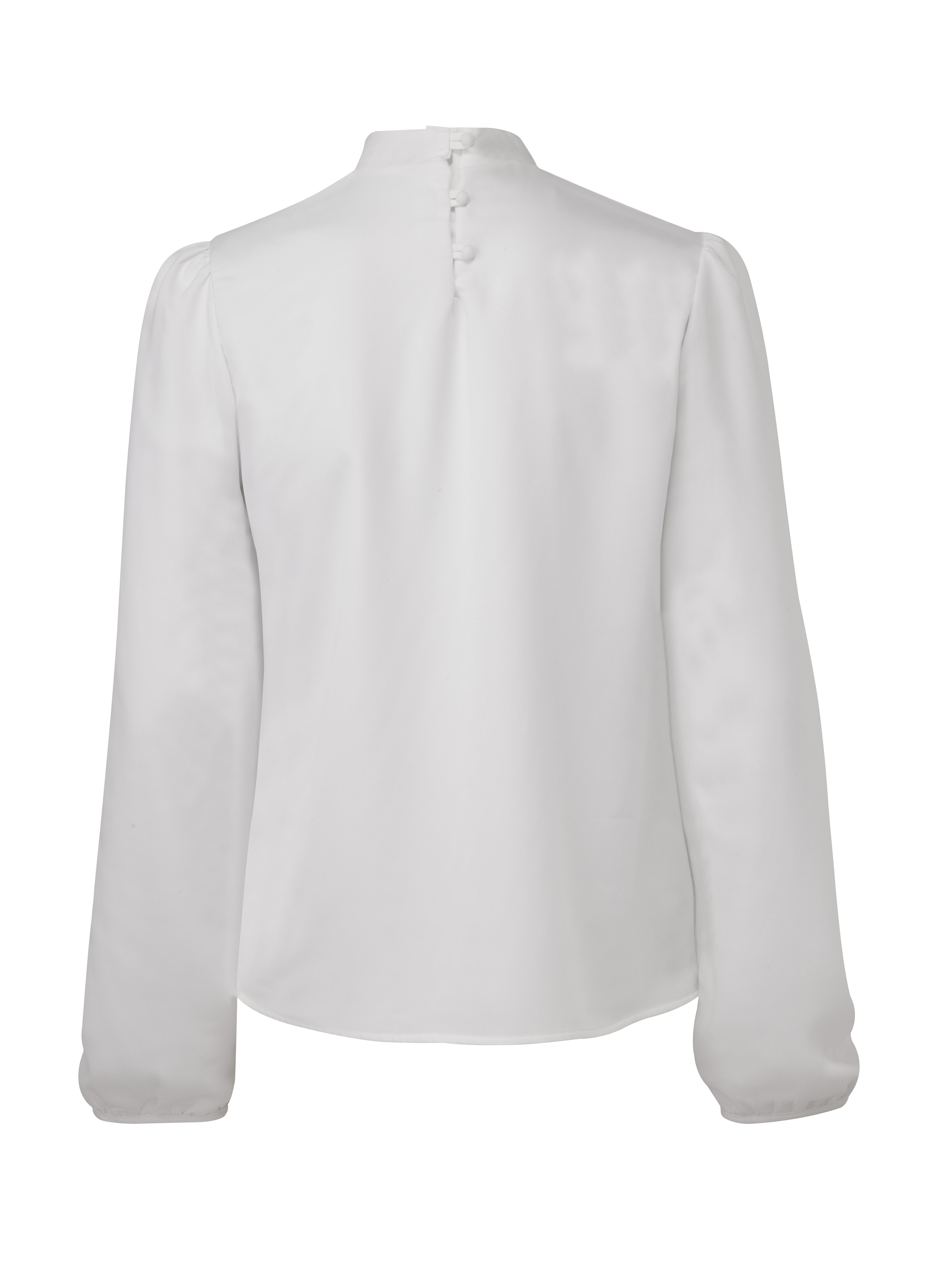 Back view of a long sleeve, white crepe blouse with a neck 3-button closure. From the RÉZO women's collection.