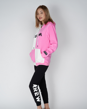 COLOR BLOCK ME HOODIE - PINK/WHITE