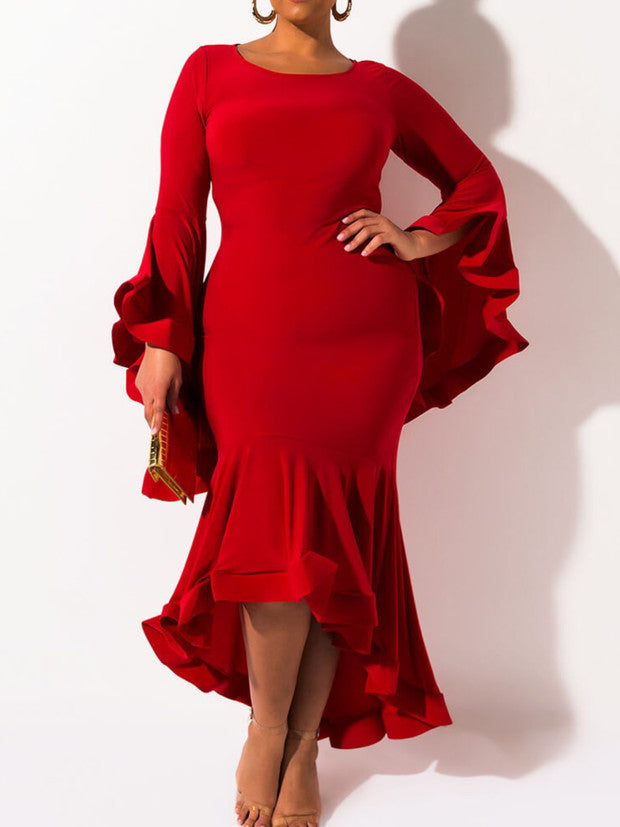 Sexy High Low Frill Sleeve Asymmetric Dresses