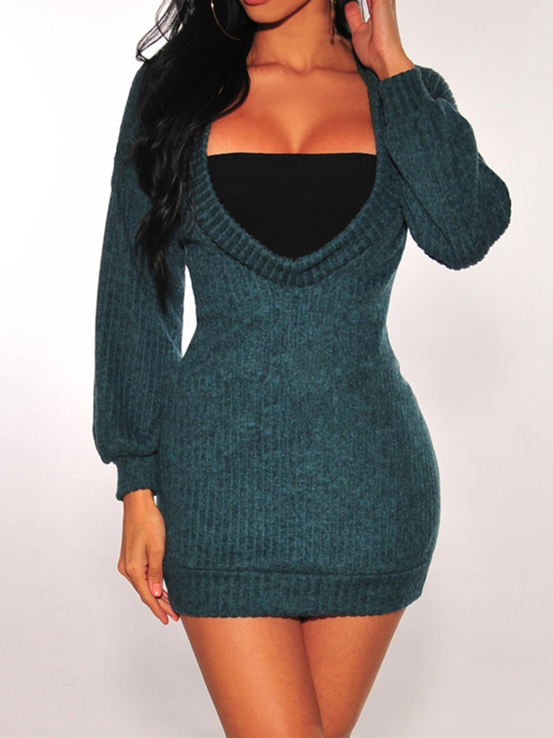 Solid Hoodie Long Sleeve Bodycon Knitted Dresses