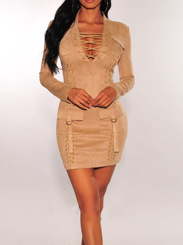 Solid V Neck Long Sleeve Bodycon Dresses