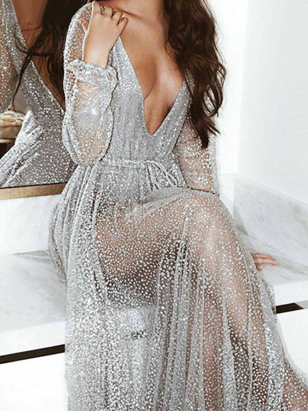 Glitter Maxi Dress Sequin Party Dress Tulle Sheer Plunging Backless Long Sleeve Women Sexy Dress