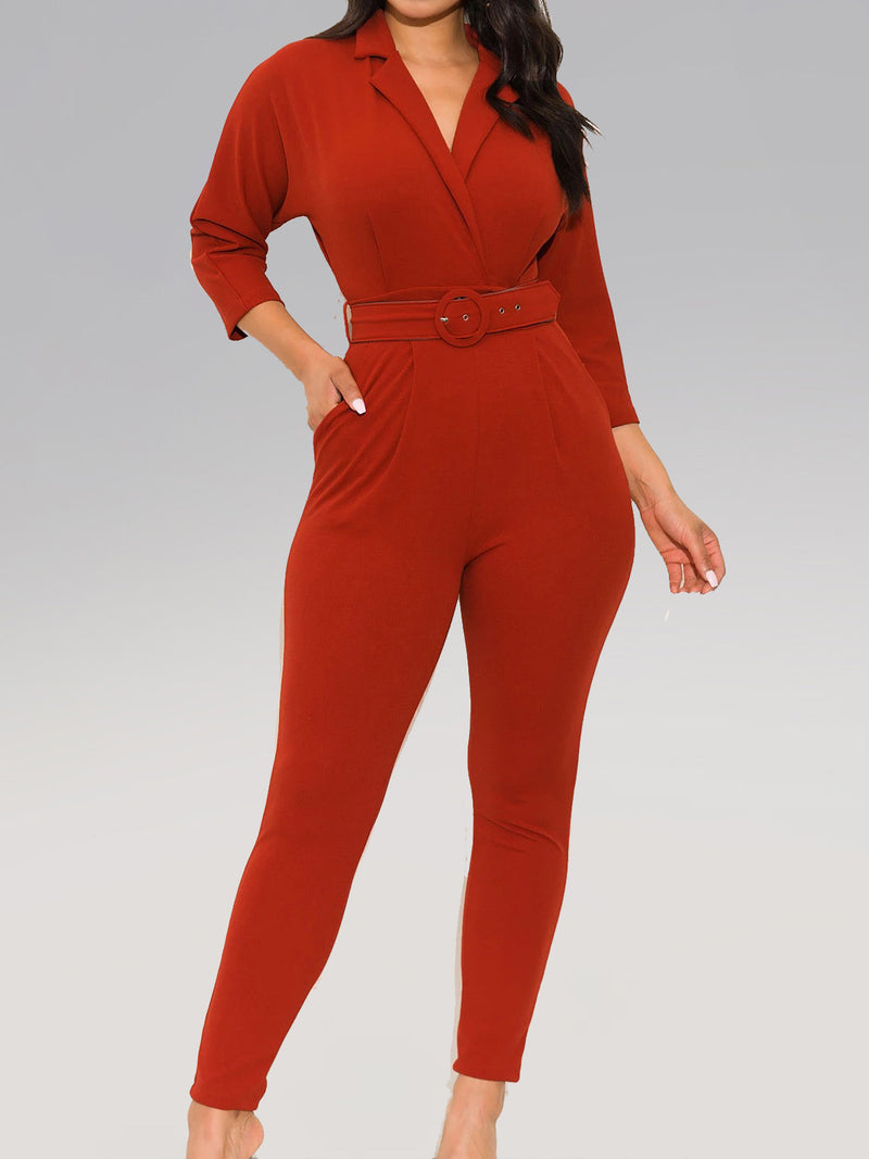 Solid 3/4 Sleeve Shawl Collar Jumpsuits