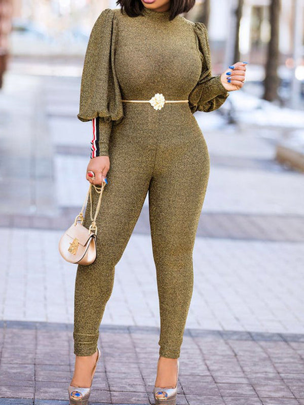 Solid Balloon Sleeve Paneled Bodycon Sexy Jumpsuits