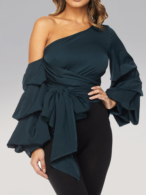 Solid Balloon Sleeve Sheath Off Shoulder Shirts & Tops