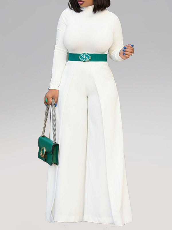 Stand Collar Cotton-Blend Long Sleeve Jumpsuits