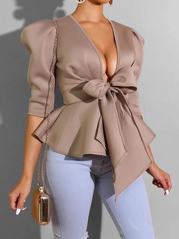Solid Bow 3/4 Sleeve Sheath Blouse