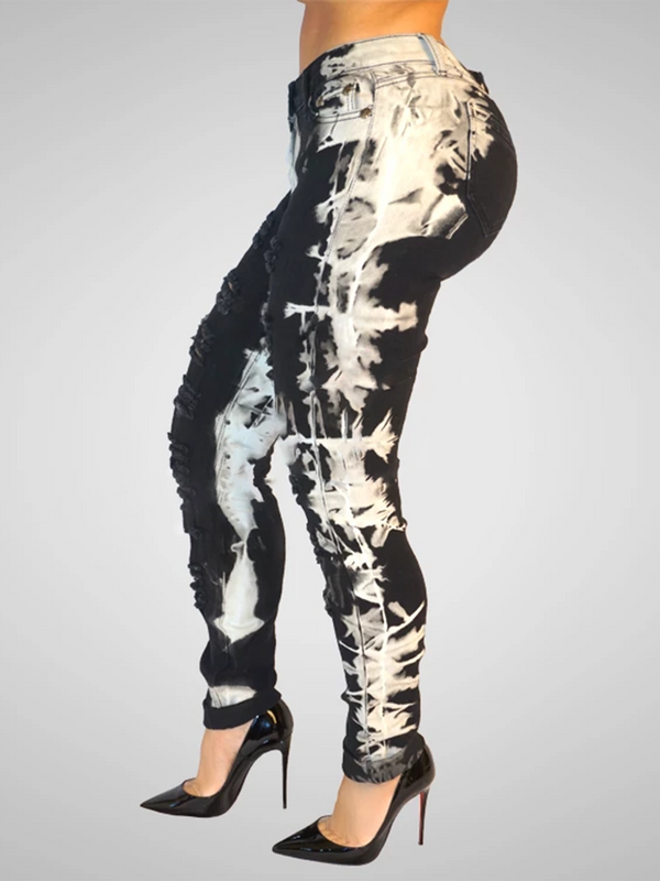 Black-White Sheath Elastane Abstract Pants