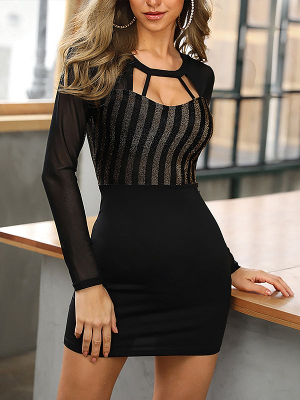 Cutout slim black dress