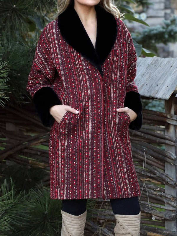 Red Cotton-Blend Long Sleeve Outerwear