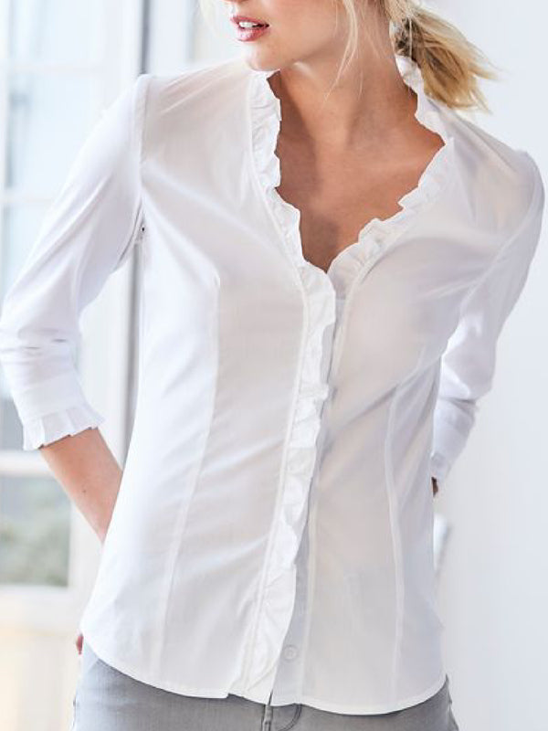 Casual Plus Size V Neck 3/4 Sleeve Blouse Shirts