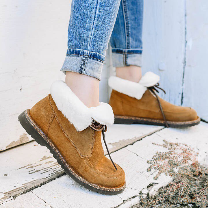 Faux Suede Casual Slip on Ankle Snowboots