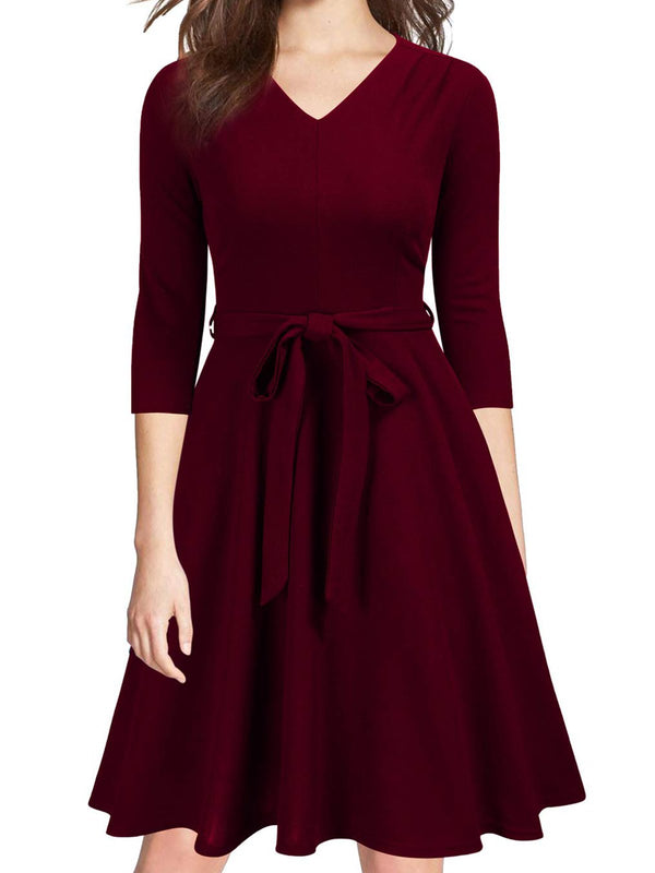 A-Line Cotton-Blend Half Sleeve Elegant Dresses