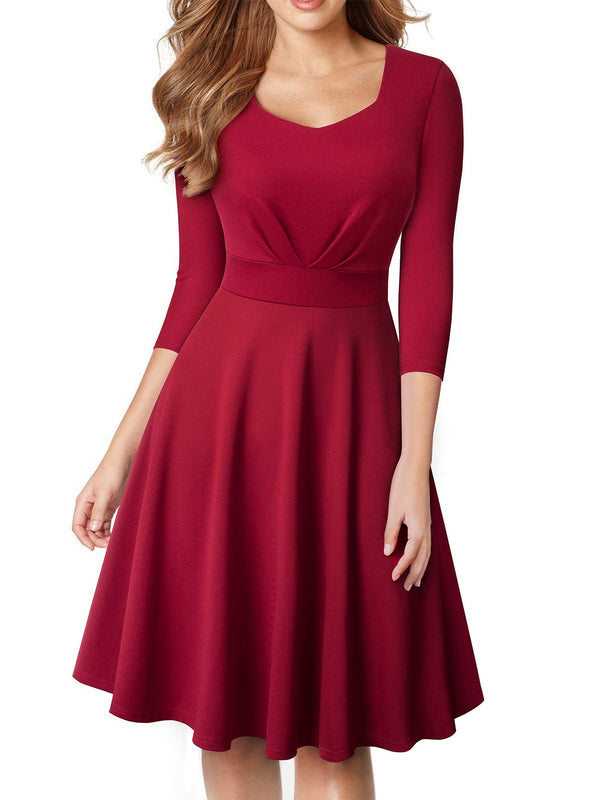 Red Casual Cotton-Blend A-Line Dresses