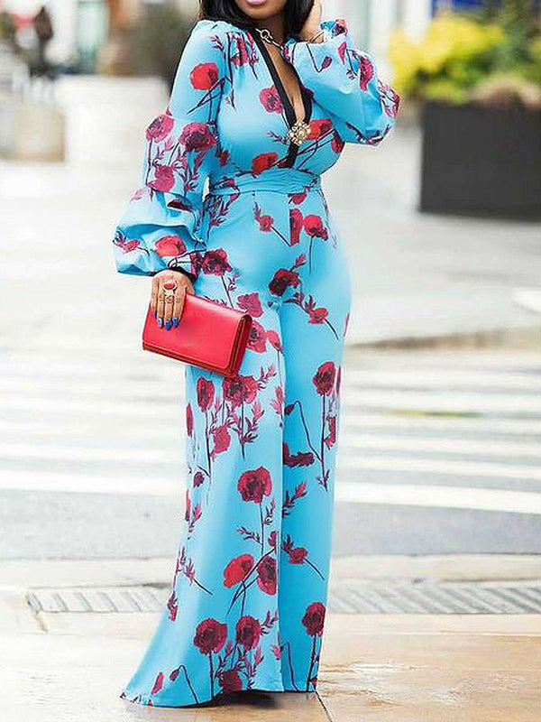 Floral Printed Sweet Bodycon Jumpsuits