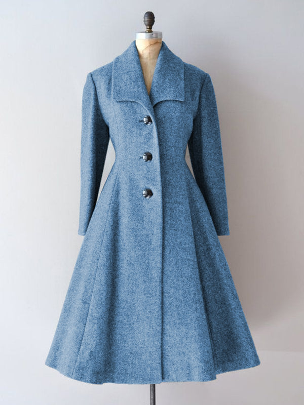 Women Buttoned Lapel Vintage Elegant Dress Coats