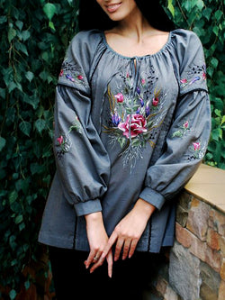 Balloon Sleeve Floral Shift Casual Tops