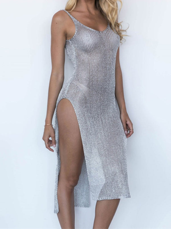 Plain See-Through Look Sexy Spaghetti-Strap Dresses