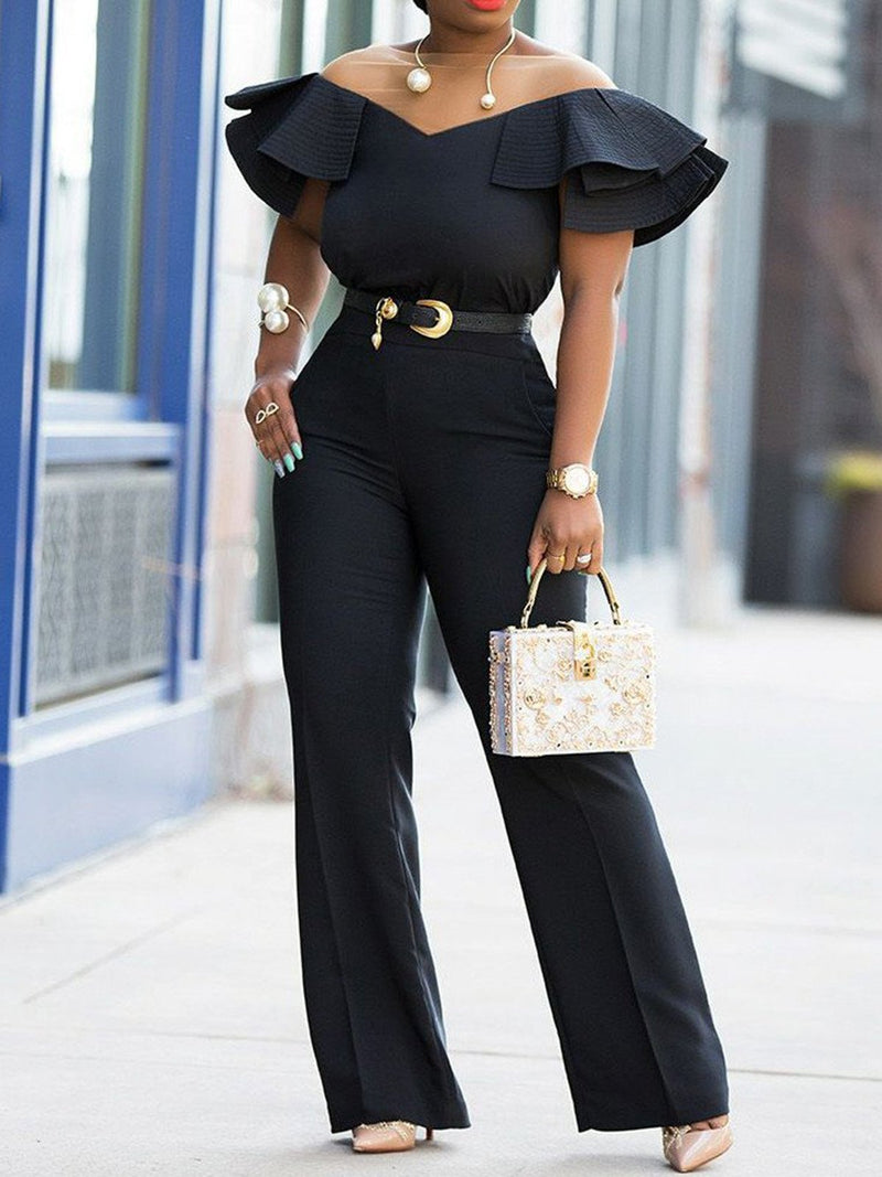 Color-Block Solid Sexy Short Sleeve Jumpsuits