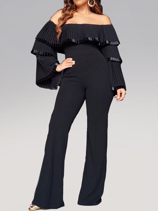Solid Off Shoulder Sexy Sheath Jumpsuits