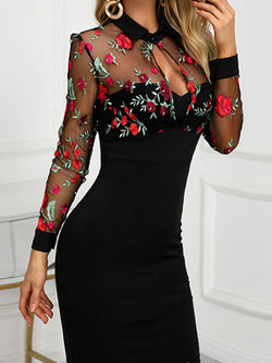 Black Long Sleeve Floral Sheath Dresses
