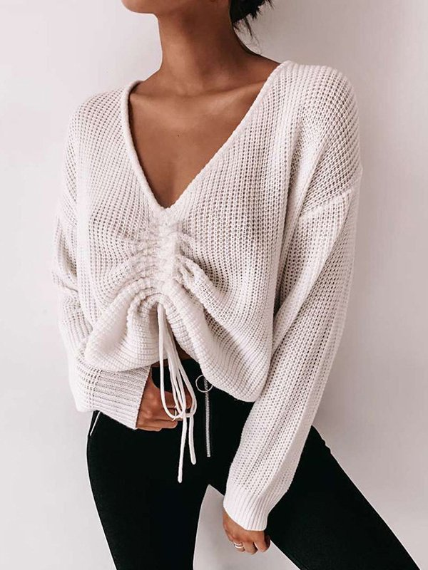 Long Sleeve Cotton-Blend Solid Sweater