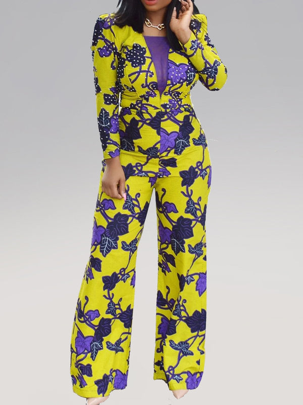 Floral Printed Sheath Square Neck Sexy Jumpsuits